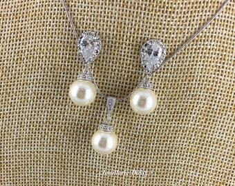 Wedding Pearl Jewelry, Swarovski Pearl Necklace, Swarovski Jewelry, Bridal Jewelry Set, Bridesmaids Gift, Wedding Jewelry, Pearl Jewelry