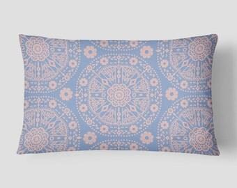 Blue Lumbar Pillow, Bohemian Pillow, Rose Serenity Cushion, 14x20 Cushion Cover, Pink Blue Cushion, Cover Insert, Boho Decorative Pillow