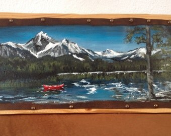 """Painting on leather """"On Snake river"""" (Idaho)"""""""