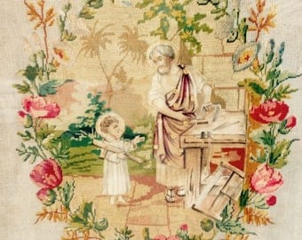 Huge antique french framed religious hand stitched tapestry - embroidery work - holy carpenter - Jesus Christ - Joseph