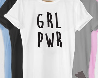 Feminist Shirt Tshirt T-shirt Tee Grl Pwr Feminism  Gifts for Girls Girlfriend Wife Women Ladies Protest Shirt March No Hate Equality Rights
