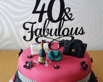 40 & Fabulous Cake Topper, Sparkly Black Cake Topper, 40th Birthday Party Decor