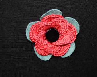 Orange, pale turquoise and black handmade flower brooch