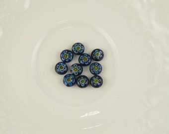 Millefiori Glass Beads, Blue Yellow and White,  Blue Millefiori Glass, 39pcs