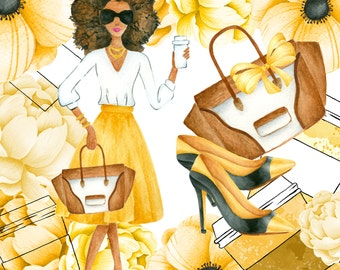 Gold fashion woman clipart, Planner Girl, Gold Watercolor Peonies, Fashion Illustration, Shoes, African american girl clipart illustration