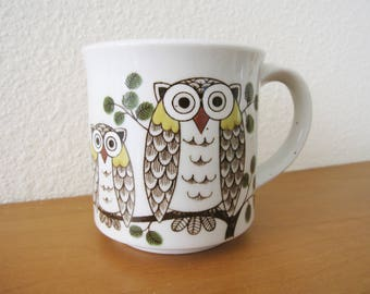 World's Cutest Vintage Owl Mug Glazed Stoneware Ceramic White Yellow Green Brown Orange
