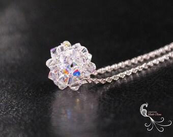 beaded jewelry, beaded necklace, swarovski pendant, swarovski crystal, crystal bead ball, crystal ball, crystal necklace, ball necklace