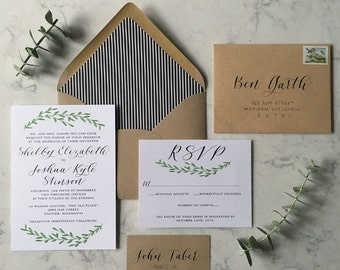 Semi-Custom Calligraphy Wedding Invitation Set