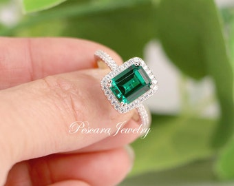 Lab Emerald Ring - Green Emerald Ring - Emerald Cut Ring - Emerald Halo Engagement Ring - Sterling Silver