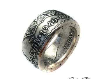 Dutch Coin Ring - Netherlands 2 1/2 Silver Gulden - Guilder - Rings from Coins - Netherland  - Holland - Queen Wilhelmina - Nederlanden