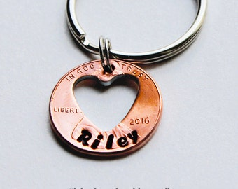 MY LUCKY HEART. Penny Keychain.Personalized Keychain. Lucky Penny. Anniversary Gift.Wedding Gift. Gift for Her.Wife/Husband Gift. Girlfriend