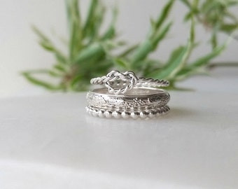 Sterling Silver Rings - Twist Knot Stack - Set of 3 - Stackable Rings - Statement Rings - Handmade