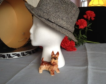Tweed Hat Fedora Hat Gray Fedora Hat Gray Wool Hat Gray Herringbone Hat Vintage Hat Men Womens Hat