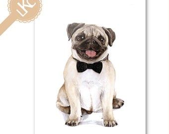 Dapper Pug Greetings Card