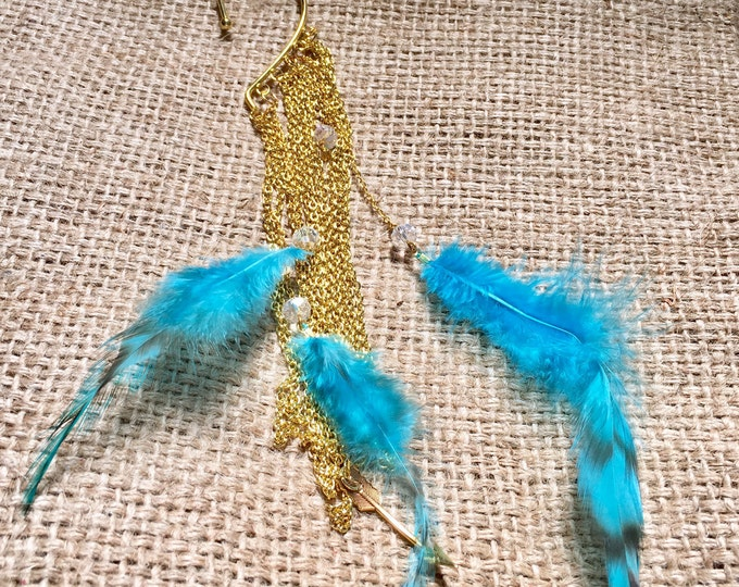 Feather Ear Cuff, Gold Ear Cuff, Tribal Ear Cuff, Festival Ear Cuff, Non Pierced Ear Cuff, Faux Piercing Cuff, Beaded Ear Cuff, Body Jewelry