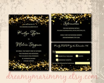 Black and Gold Wedding Inserts, Set, Gold Sparkles, Infocard, RSVP, Gold Sparkles Wedding Templates, Editable,  Word doc, S025