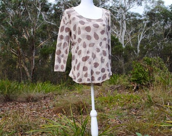 Women's linen top // naturally dyed linen shirt with gum leaf pattern