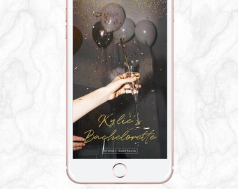 Bachelorette Party, Hens Night, Gold Glitter, Confetti, Snapchat Geofilter