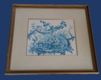 Vintage Framed Ethan Allen Blue and White Chinoiserie Print Wall Art Gilded Gold Hollywood Regency Asian Man Woman Musician