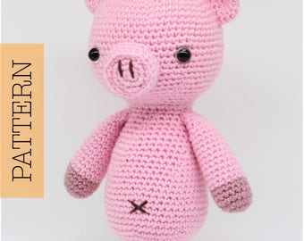 Crochet Amigurumi Pig PATTERN ONLY, Curly The Pig, pdf Stuffed Animal Toy Pattern, English Only