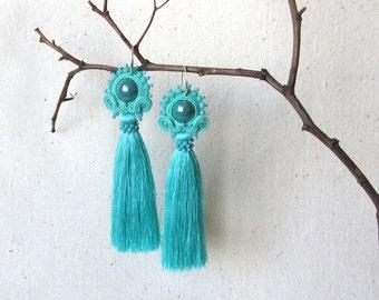 Turquoise earrings Long elegant earrings Statement Tassel earrings Soutache jewelry Feminine jewelry Girlfriend gift Earrings for her gift