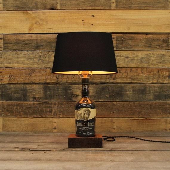Buffalo Trace Bourbon Bottle Table Lamp, Authentic Bourbon Barrel Char, Reclaimed Wood Base, Full Sized Table Lamp, Whiskey Bottle