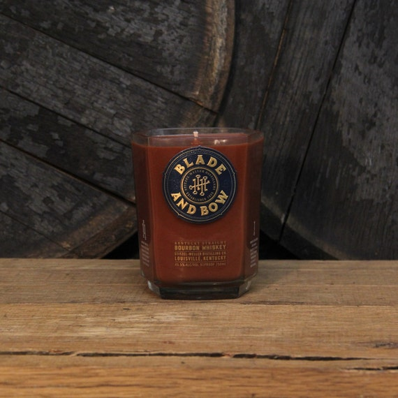 Upcycled Blade & Bow Bourbon Candle - Recycled Bourbon Bottle Candle Handmade Soy Candle 750ml Recycled Glass Bottle 18oz Soy Wax