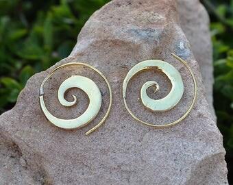 Small Brass Earrings, Silver earrings, Small spiral hoops, Hoop earrings, Boho chic jewelry, Vintage earrings, light earrings