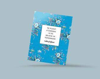 Gardening postcard, gift for gardeners, floral postcards, literature postcards, quote postcard, literary postcard