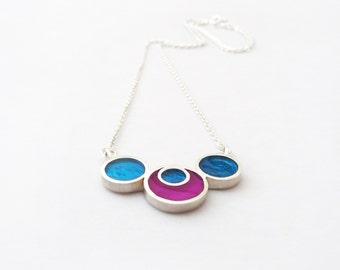 Enamel Pendant, Geometric Pendant, Silver Enamel Pendant, Sterling Silver Pendant, Enamel Jewelry, Modern Pendant, Bicolor Pendant, Silver