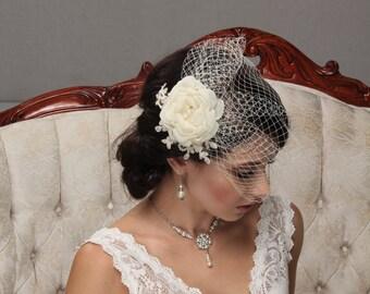 Birdcage Veil, Bridal Hair Flower, Flowerl Hair Clip, Blusher Veil, Lace Hair Piece, Bridal Fascinator, Bridal Headpiece, Flower Hair Comb