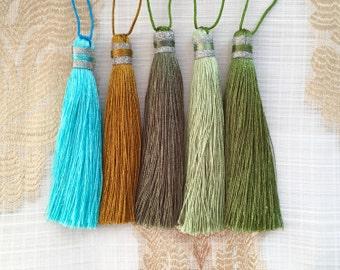 Tassel, Silk Thread, Green Tassel, Turquoise Tassel, Tassels for Jewelry, Decorative Tassels, Long Tassel, Thread Tassel, Tassel Jewelry