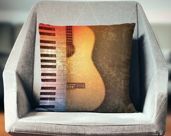 Music Gifts | Music Decor | Music Pillow | Gift for Musician Music Art | Music Decorations | Piano Decor | Guitar Gift