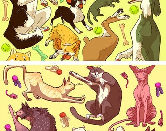 Cat/Dog Pattern Print