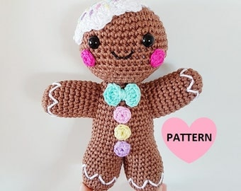 Gingerbread man PDF PATTERN, amigurumi crochet