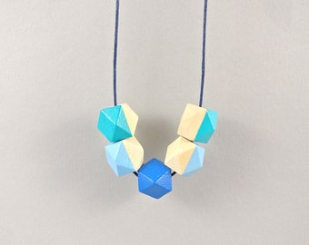 Geometric Necklace - Baby Blue, Blue & Turqouise | Statement Necklace | Wooden Bead | Gift for her | Geometric | Statement | Mother's day