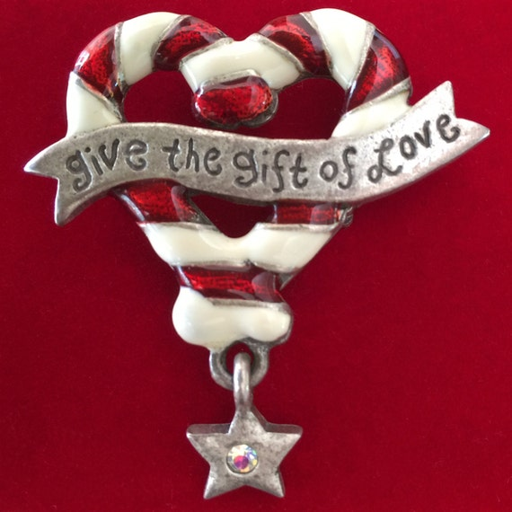 Candy Cane Heart Give the Gift of Love AJMC Enamelled Pewter Vintage Brooch