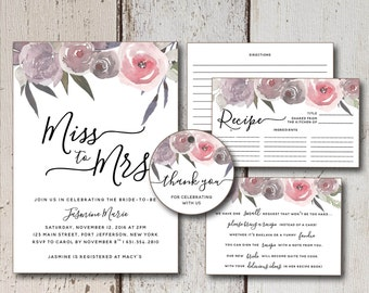 Rustic Bridal Shower Invitation Set, Printable Floral Wedding Shower Invite Suite, Printable Recipe Cards Activity, Flower Shower Favor Tags