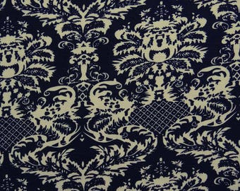 """Dress Fabric, Beige Floral Print, Navy Blue Fabric, Decorative Fabric, Sewing Crafts, 59"""" Inch Rayon Fabric By The Yard ZBR244D"""
