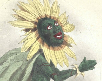 1847 Antique Grandville Print Les Fleurs Animees Soleil Sun Sunflower Hand Colored Print Botanical Original Animated Flowers Botany
