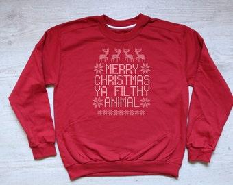Merry Christmas Ya Filthy Animal Sweatshirt Ugly Christmas Sweater Christmas Sweater Funny Christmas Tee Ugly Xmas Sweatshirt Home Alone