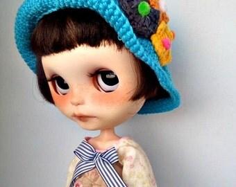 Blythe hat, hat blue Blythe, Blythe Hat crochet, hat Blythe crochet insets