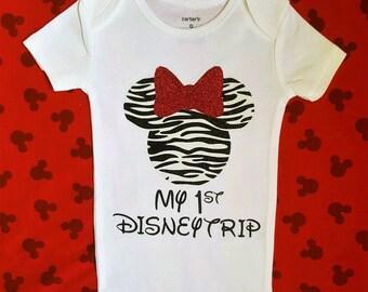 Disney Shirts || My First Disney Trip shirt | Minnie mouse shirt Zebra Minnie outfit Disney visit shirt toddler shirt baby girl clothes