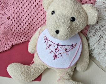 Baby girl bib 1st Birthday outfit girl 1st necklace baby cross stitch jewelry bib for princess handmade bib unique baby girl shower gift