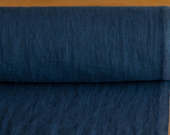 LINEN FABRIC medium weight midnight Blue Washed pure 100%  linen fabric  Fashion fabric  are All-Purpose for many your needs