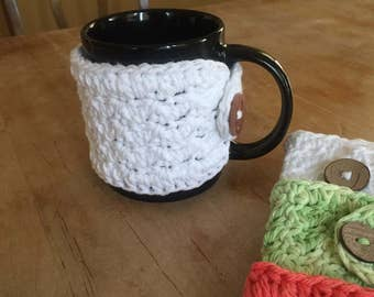Cotton crocheted mug cozies, coffee cozy, mug cozy, cotton cup cozy, cup cozies