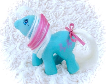 G1 My Little Pony Baby Fifi Original 1985 Vintage MLP First Tooth Babies Ponies Blue Body Pink Stripe Poodle Dog Cutie Mark Rare Vtg Htf