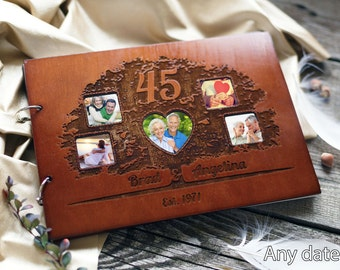 Anniversary photo album Wedding photo album Wood Photo Album Custom Wedding Album Wooden Photo book Wedding gift Personalized Album