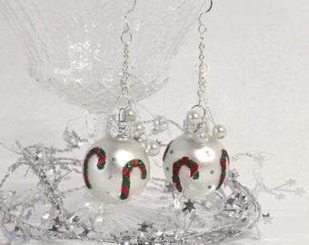 white ornament earrings, candy cane earrings, holiday earrings, tacky christmas, festive earrings, mistletoe earrings, party jewelry