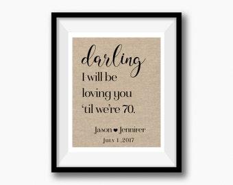 Thinking Out Loud Lyrics Wedding Print | Valentines Day | Personalized Wedding Gift for Couple | Reception Sign | Wedding Song Lyrics